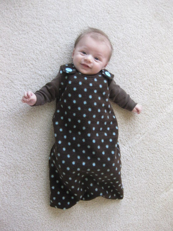 Maryjane Sleep Sack 0-6months Dark Brown with Blue Polka Dots