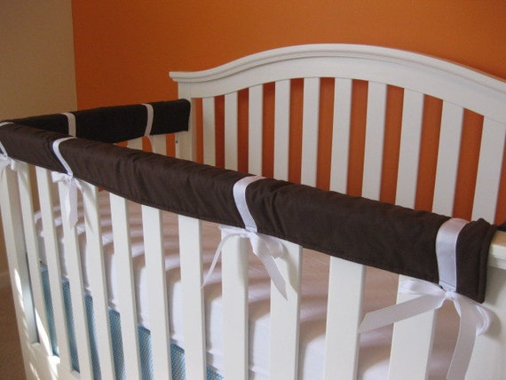 Reserved for tc4586 - Crib Teething Guards for Convertible Cribs - 3pc Set Dark Brown with White Ribbon - Ready to Ship