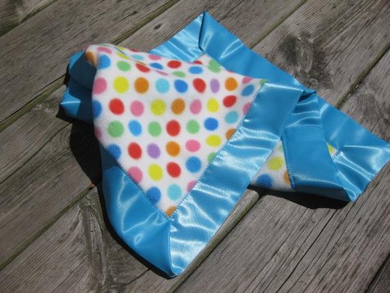 Mini Blanket - Lovey with Satin Edge - Multi Color Polka Dot or Blue Green Design