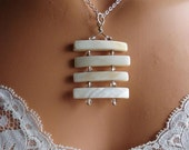Mother of pearl ladder necklace, THE CLIMB, Bohemian Jewelry