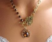 BOGO SALE Vintage Horseshoe Charm Necklace, Vintage Charm, Rootbeer Brown, Horseshoe, Good Luck, Necklace, Free Shipping