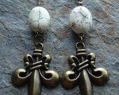 Fleur De Lis Earrings, Brass, White Magnesite, Shabby Chic, French, Dangle earrings, Free Shipping,