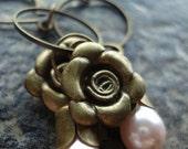 Brass Flower Earrings, Pink Flower Earrings, Pearl, Dangle Earrings