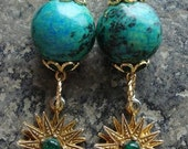 Sea Star Earrings, Vintage starburst, vintage components, blue green stone, dangle earrings