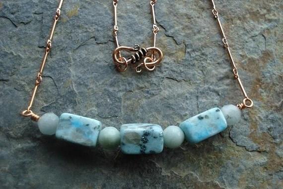 Amazonite, Copper, Glass, Necklace, light blue