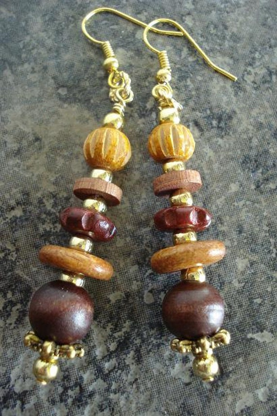 Wooden Earrings, STACKING WOOD, Brown, Tan, Gold