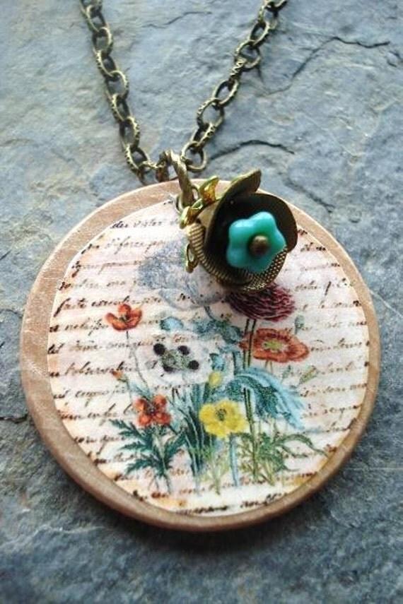 Flower Garden Necklace, Handmade Flower Pendant, Turquoise flower, vintage findings