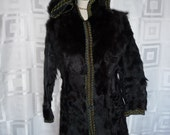 Indie Boho Reversable Fur Hooded and Embroidered Coat Jacket 60s 70s Vintage