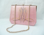 Vintage 1950s Purse. Pink Pearl. Hand Pinstriped in Black and Gold. Fabulous