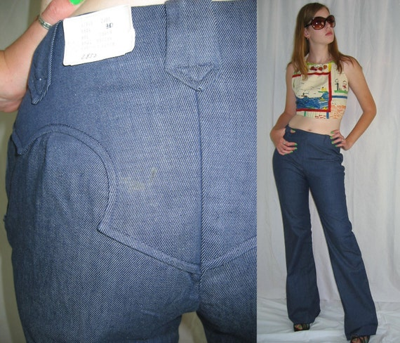 Ladies Denim Gabardine Western Rockabilly Pants NWT 60s 70s Vintage