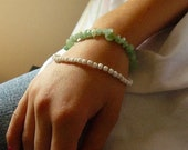 Fresh Mint, a two bracelet set made with semi precious stones and glass beads