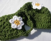 Crocheted Green Toddler Hat and Matching Purse Adorned with Daisies - Black Friday