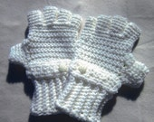White Crochet Fingerless Gloves with Strap and Button - Size Large to Extra Large