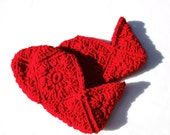 Crocheted Granny Square Slippers  Women's Size Medium  Bright Red