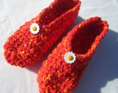 Crocheted Women Slippers in Orange, Yellow and Red - Size Large