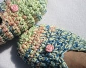 Crochet Slippers in Pastel Green, Yellow, Peach and Blue - Size Small