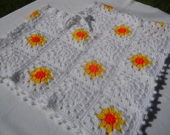 White Crocheted Poncho with Sunbursts Girls Small Woman