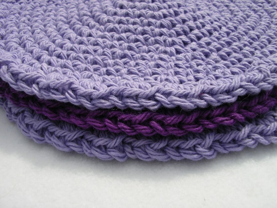 Crocheted Cotton Wash Cloths or Dish Cloths Purple and Lavender On Sale