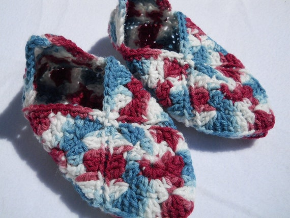 Crocheted Granny Square Slippers Wine, Blue and White- Women's Size Small