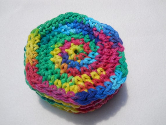 Bright Rainbow Colored Cotton Facial Cloths - Seven Days a Week