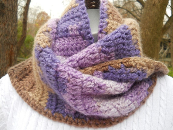 Crocheted Scarf in Purples and Browns - Varigated shades of Both