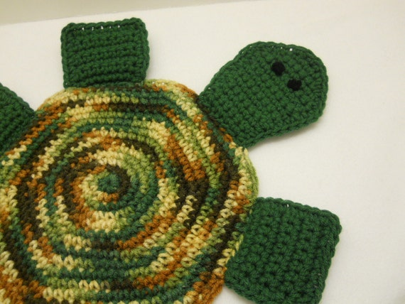 Crocheted Turtle Pot Holder  or Hot Pad in Greens and Browns