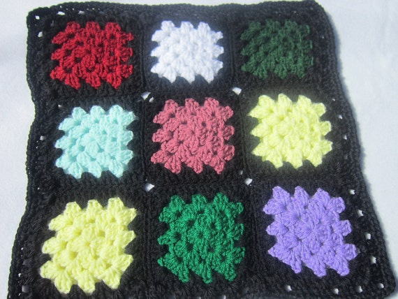 Crocheted Doll Granny Square Afghan or Blanket Trimmed in Black ON SALE, Doll House Bedspread, Multicolor Quilt