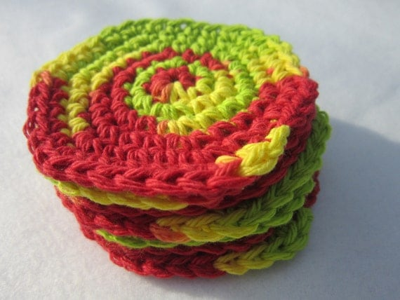 Cotton Facial Cloths or Make Up Removers Facial Scrubbies in Yellow Green and Red