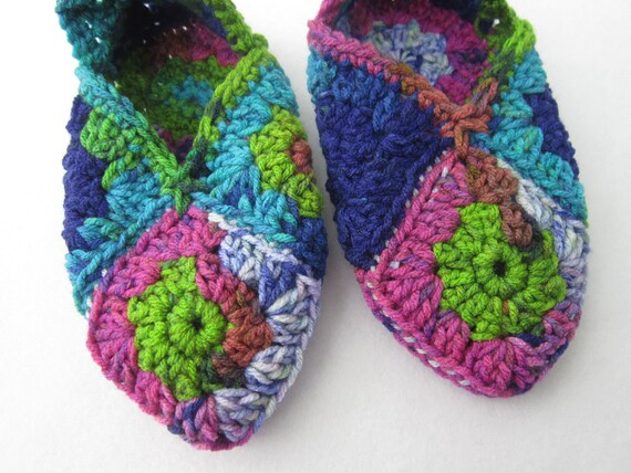 Most Colorful Crocheted Granny Square Slippers Ever Size Medium