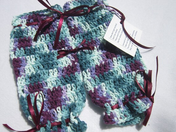 Cotton Dish Cloth Britches Shades of Teal and Purple Crocheted