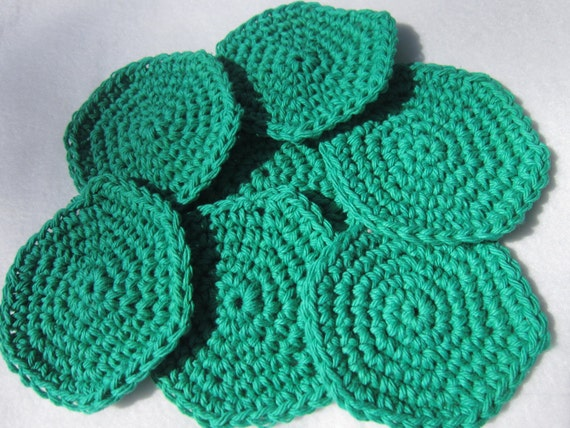 Cotton Facial Cloths or Make Up Removers Facial Scrubbies in Green Mother's Day