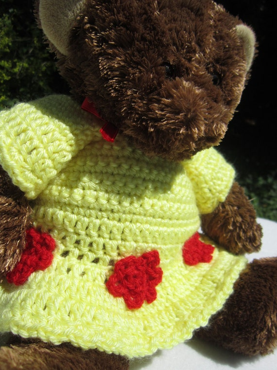 Upcycled Teddy Bear in a new Crochet Yellow Dress with Red Flowers