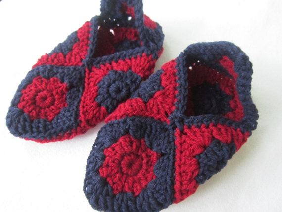 Granny Square Slippers in Navy and Dark Red - Women's Size Medium