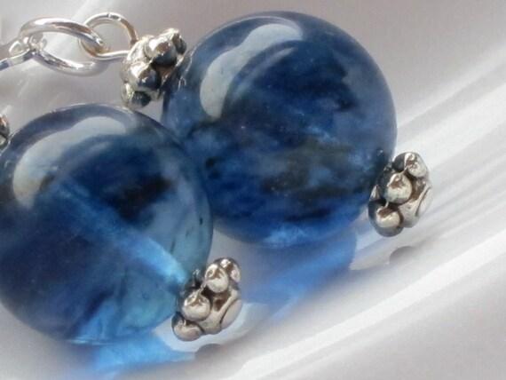 Natural Blueberry Quartz Earrings