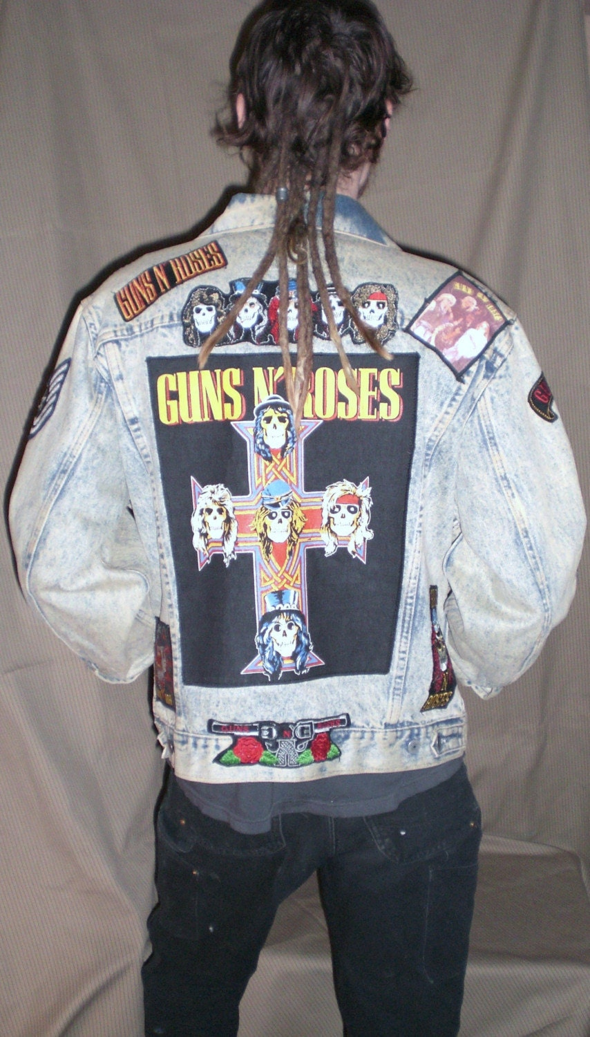 Vintage Unisex Diy Guns And Roses Jean Jacket