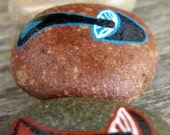 Geometric triangle blue and red painted stone set