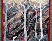 Fake Deer - original watercolor featuring black and white deer, birch trees, autumn