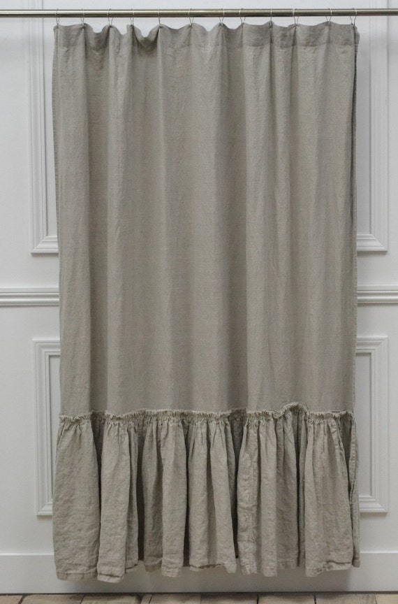 Reserved For Leah Linen Shower Curtain Vintage Ruffle Washed