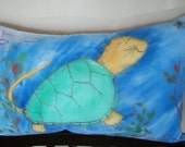 Cat Turtle Pillow  Hand Painted Quilted Fabric