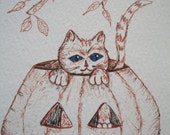 "Cat in Pumpkin ACEO - ""In A Punk""  Ink Drawing"