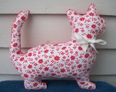 Red Floral Plush Cat Pillow - Millie