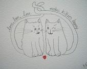 "Cat Art Original ""Happy Kitties"" Ink Drawing"