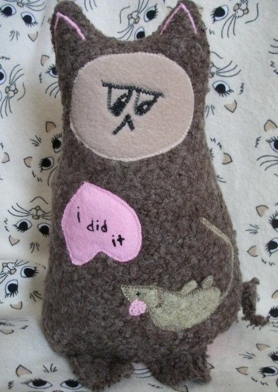 I Did It - Woolly  Brown Gray Plush Kitty - Gus