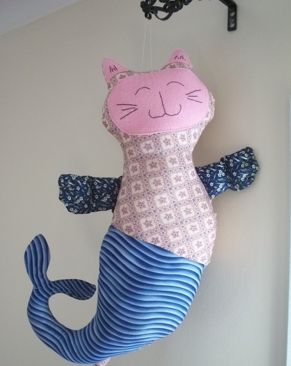Plush Cat Mermaid - MerMew Pillow or Wall Decor