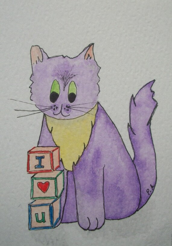 "Purple Kitty ACEO  ""I Heart U""  Original Watercolor"