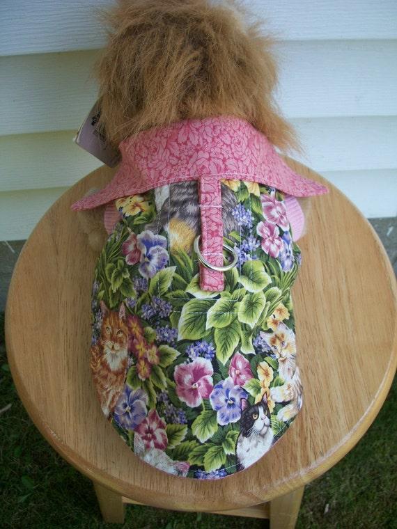 Pink Floral Cat Harness Shirt - Summer Walks - Medium