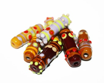Lampwork Beads Set (8) - NB - Caramel - Glass beads supplies.