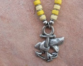 Genuine Black Leather Necklace with a Pewter Shark on an Anchor with Ceramic Beads, Shark Necklace, Anchor Necklace