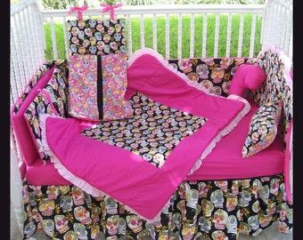 NEW 7 piece baby crib bedding set in gothic punk pink/black SUGAR SKULLS fabrics goth