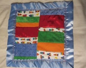 Baby boy soothie feely blanket with Mink Satin and Flannel